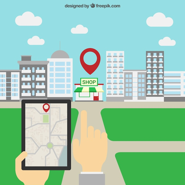 Tablet GPS navigation Free Vector