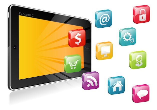 Tablet pc with a blank place for icon Premium Vector