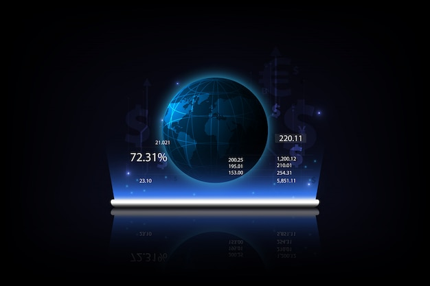 Tablet showing a growing virtual hologram of statistics Premium Vector