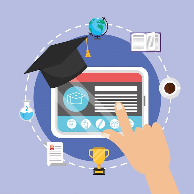 Tablet technology with certificate and education book Premium Vector