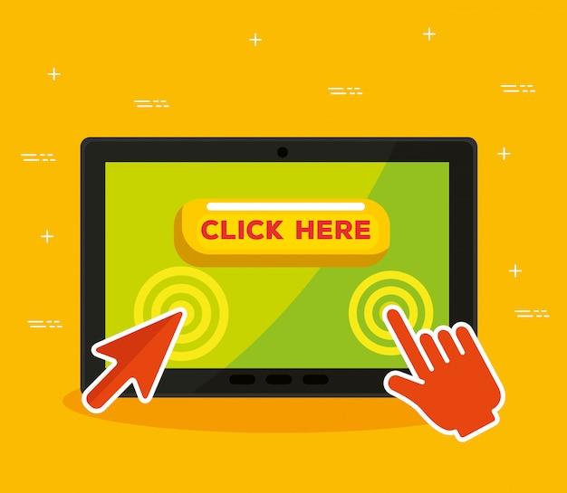 Tablet con freccia e clic del cursore del mouse a mano Vettore gratuito