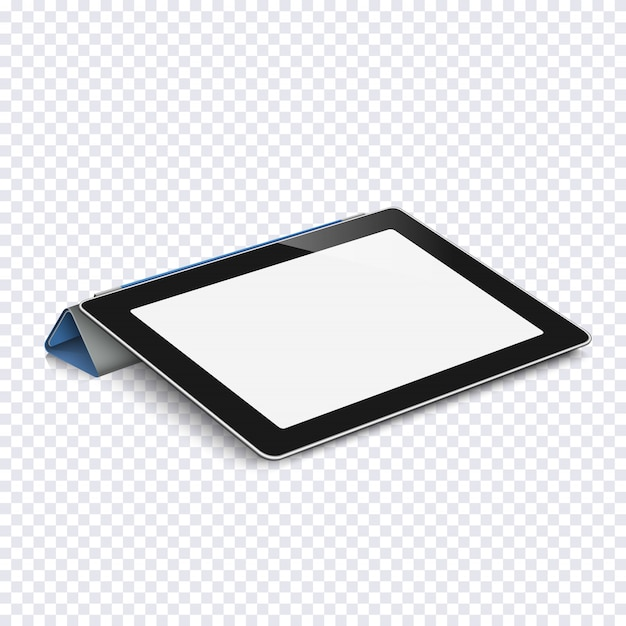 Tablet with blank screen isolated on transparent Premium Vector
