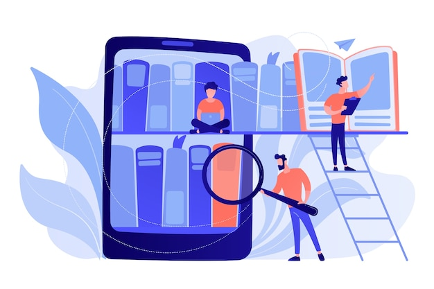 책장과 학생들이 정보를 검색하고 읽는 태블릿. 디지털 학습, 온라인 데이터베이스, 콘텐츠 저장 및 검색, 전자 책 개념. 벡터 격리 된 그림입니다. 무료 벡터
