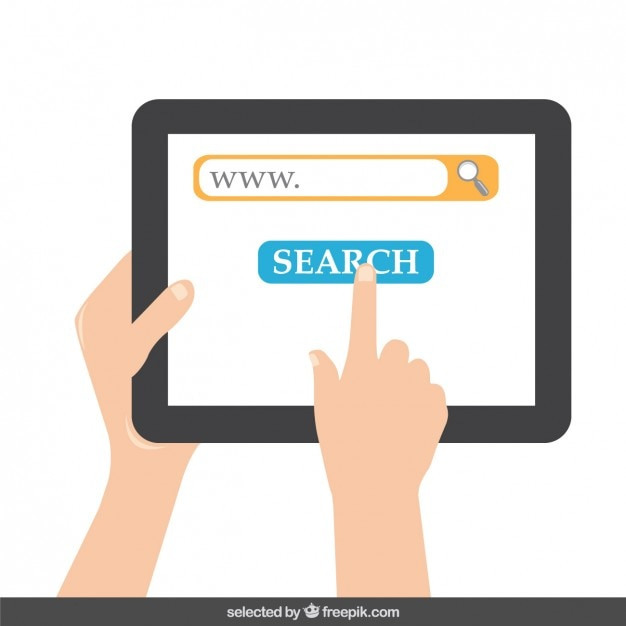 Tablet with search button on screen Free Vector