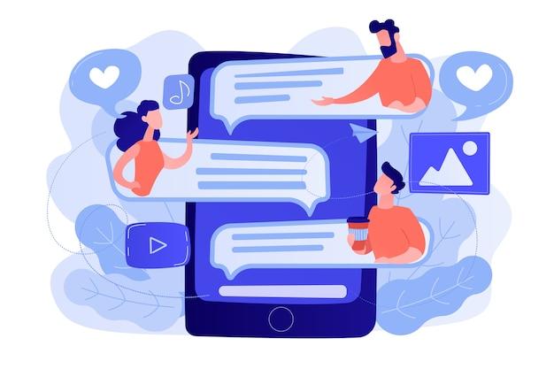 Планшет с общением пользователей и пузыри речи. глобальное интернет-общение, социальные сети и сетевые технологии, чат, сообщения и концепция форума. изолированная иллюстрация вектора. Бесплатные векторы
