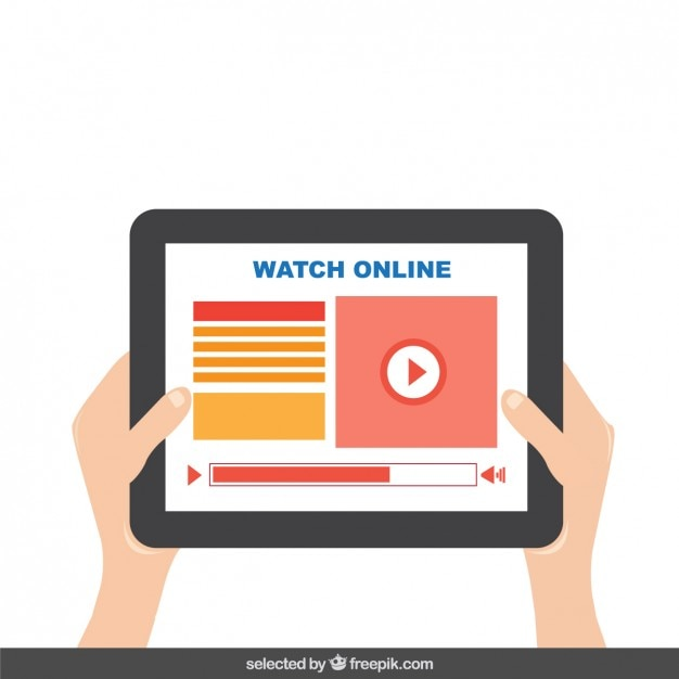 Tablet with video player on screen Free Vector