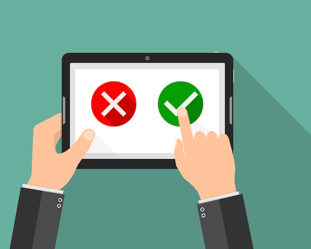 Tablet with yes and no buttons. illustration Premium Vector