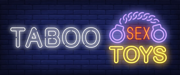Taboo neon sign. glowing bar sex toys lettering and handcuffs Free Vector