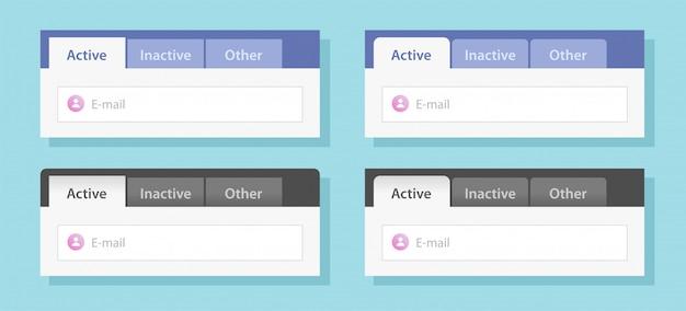 Tabs ui interface design or tabbed menu website template set vector flat style illustration mockup Premium Vector
