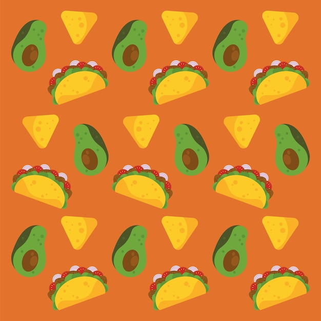 Taco day celebration mexican poster with avocados and nachos pattern. Premium Vector