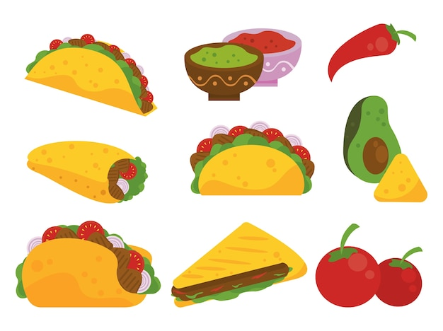 Taco day celebration mexican poster with tacos and vegetables pattern. Premium Vector