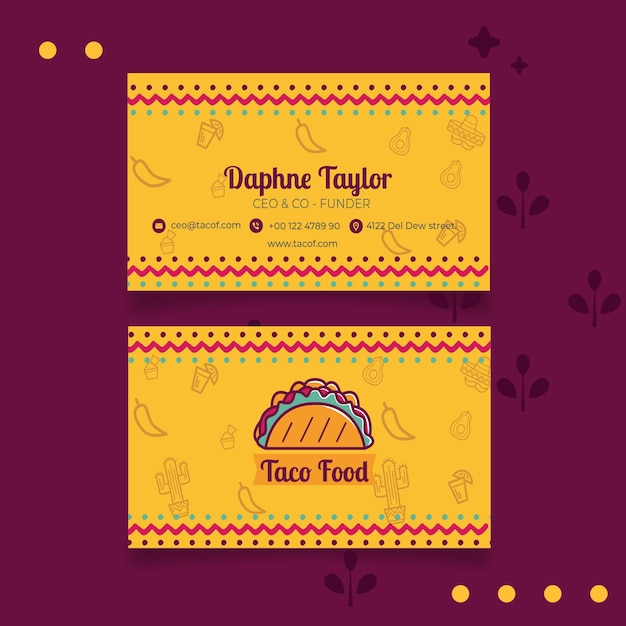 Taco food restaurant business card template Free Vector