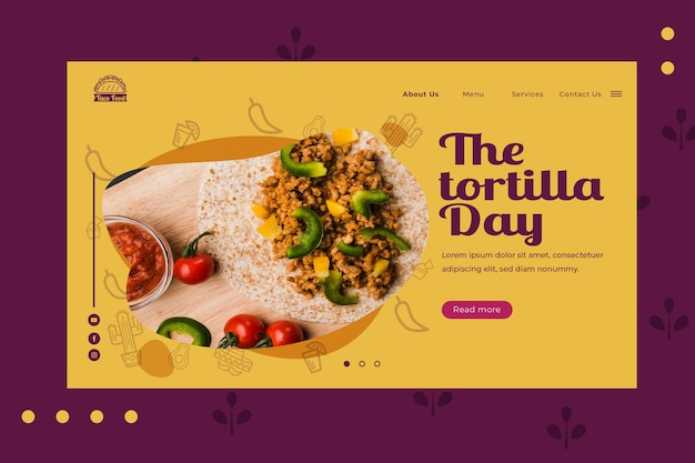Taco food restaurant home page template Free Vector
