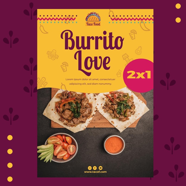 Taco food restaurant poster template Free Vector