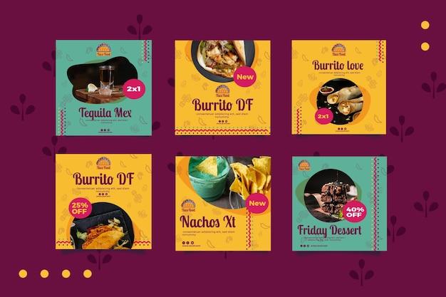 Taco food restaurant social media posts template Premium Vector