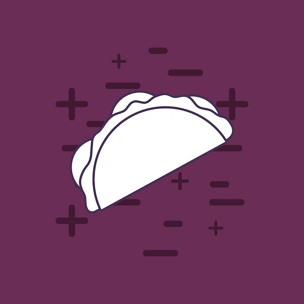 Taco icon over purple background, colorful line design. vector illustration Premium Vector