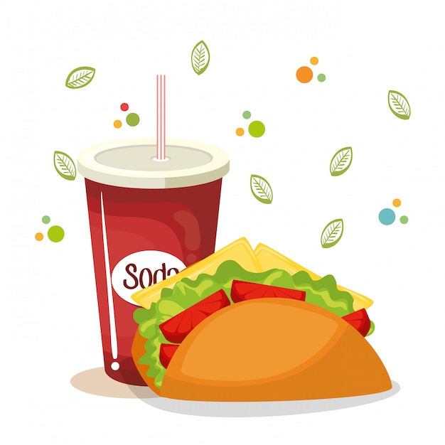 Taco and soda fast food Free Vector