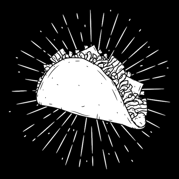 Taco. традиционная мексиканская еда. изолированных иллюстрация Premium векторы