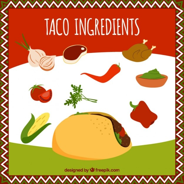 Tacos essential ingredients Free Vector