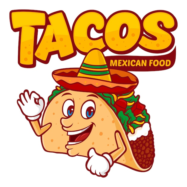 Tacos mexican food logo template, with funny character vector Premium Vector