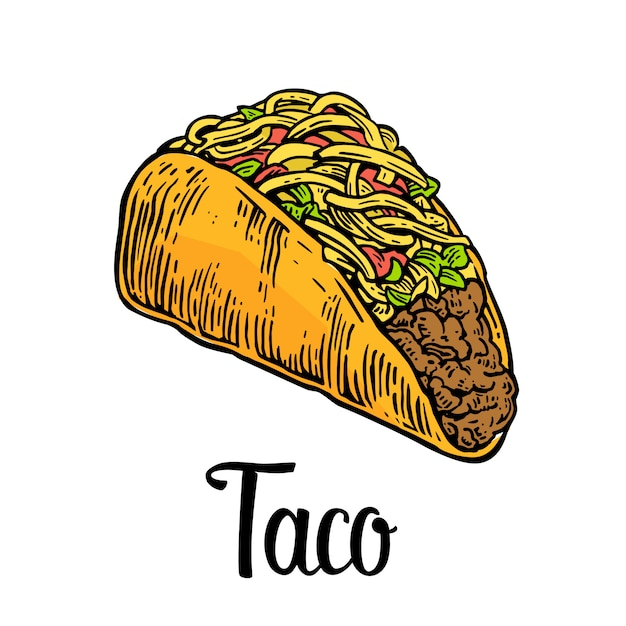 Tacos, mexican traditional food. Premium Vector