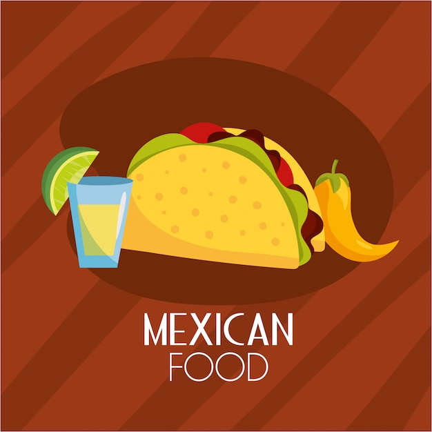 Tacos spicy mexican food with sauce Premium Vector