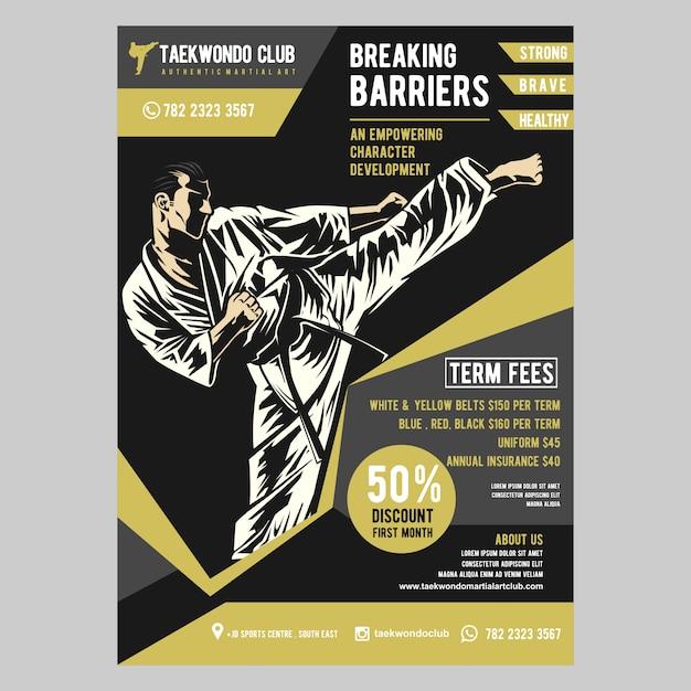 Taekwondo flyer template Premium Vector