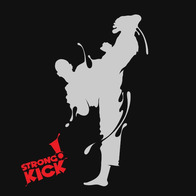 Taekwondo kick splash Premium Vector
