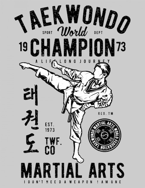 Taekwondo world Premium Vector