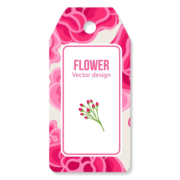Tag with peony Premium Vector