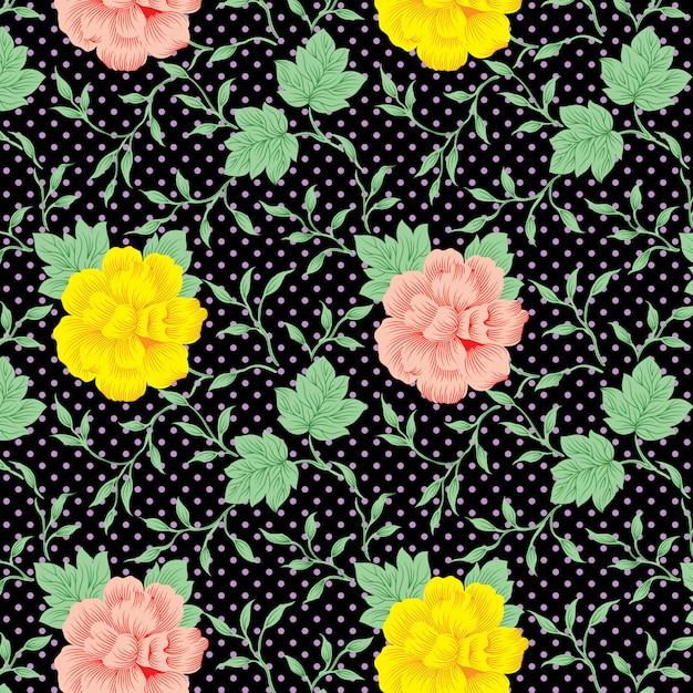 Tagetes patula flowers pattern on black background Premium Vector