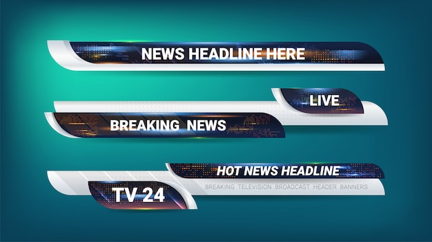 Tags and banner for news broadcasting Premium Vector