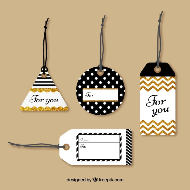 Tags collection with glitter Free Vector