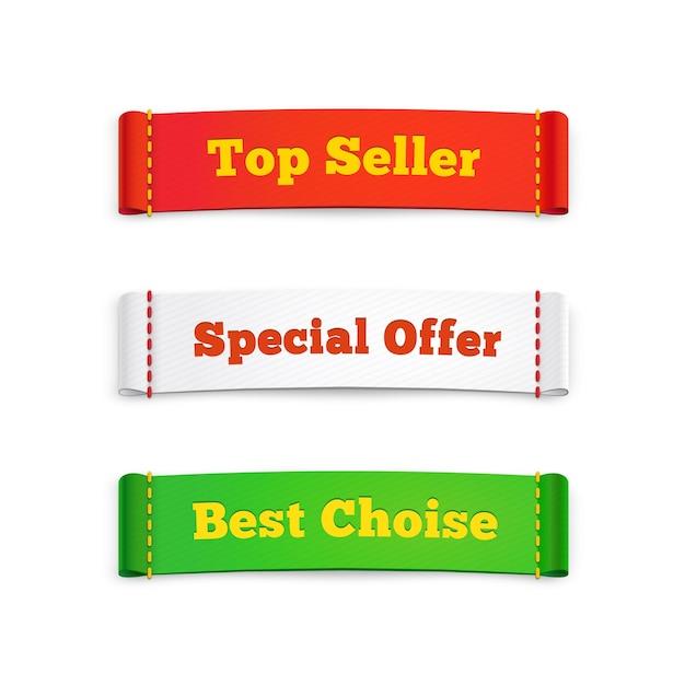 Помечает этикетки или коммерческие баннеры, рекламирующие специальные предложения и товары лучшего выбора для покупки, на белом Premium векторы
