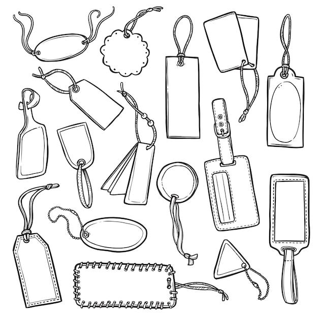 Tags sketch set Free Vector
