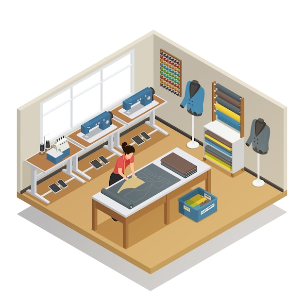Tailor atelier isometric composition Free Vector