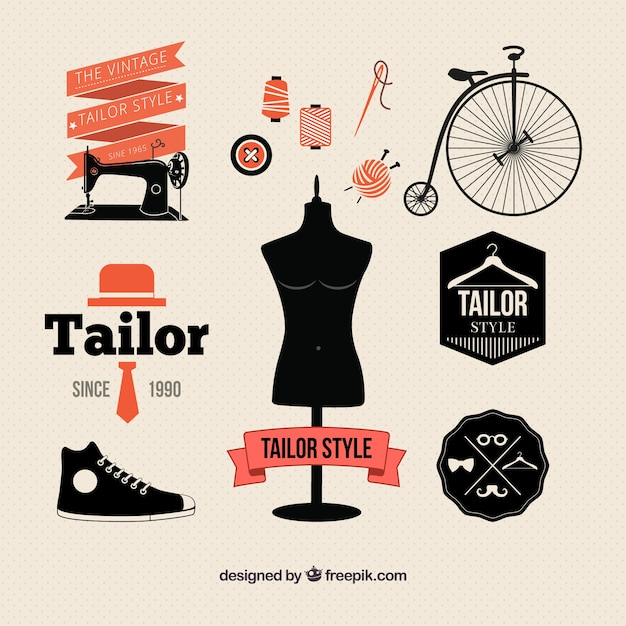 Tailor elements in retro style Free Vector
