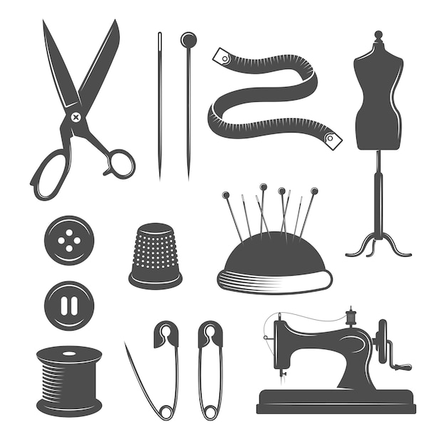 Tailor elements set Free Vector