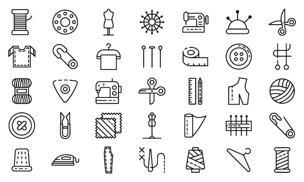 Tailor icons set, outline style Premium Vector