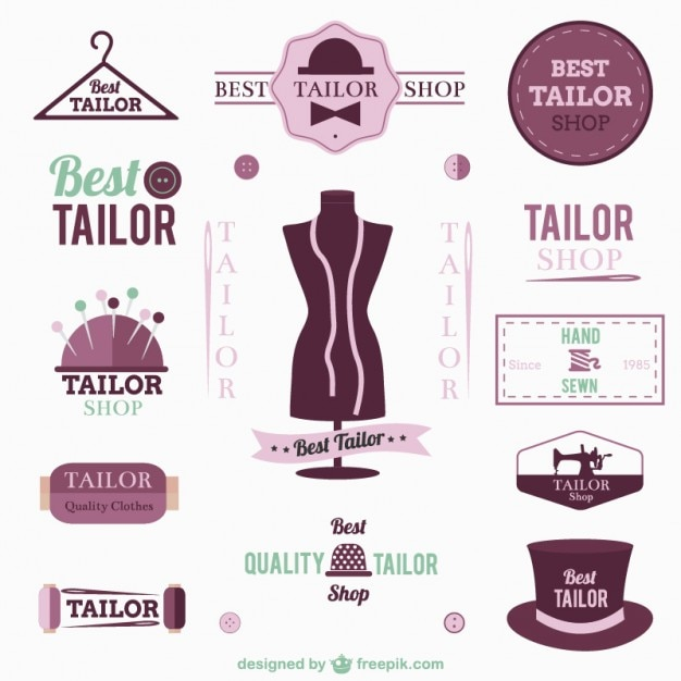 Tailor logos and badges Free Vector