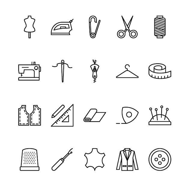 Tailor outline icon set Premium Vector
