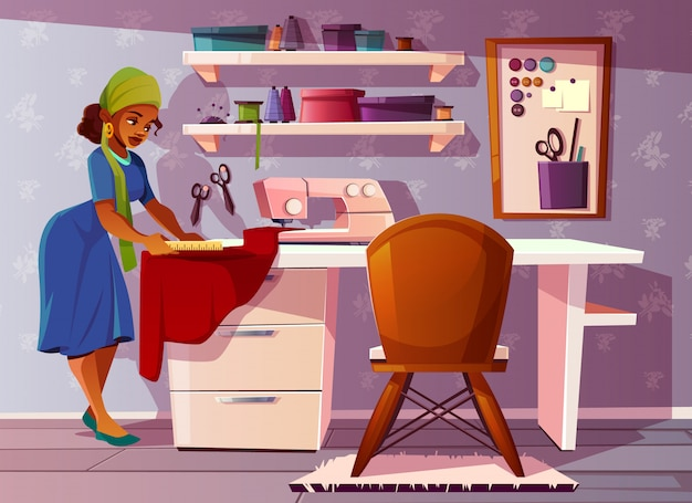 Tailor room with aframerican woman. studio with pretty seamstress, sewing machine Free Vector