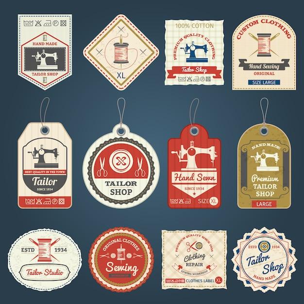 Tailor shop badges labels icons set Free Vector