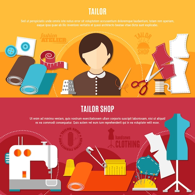 Tailor shop banners set Free Vector