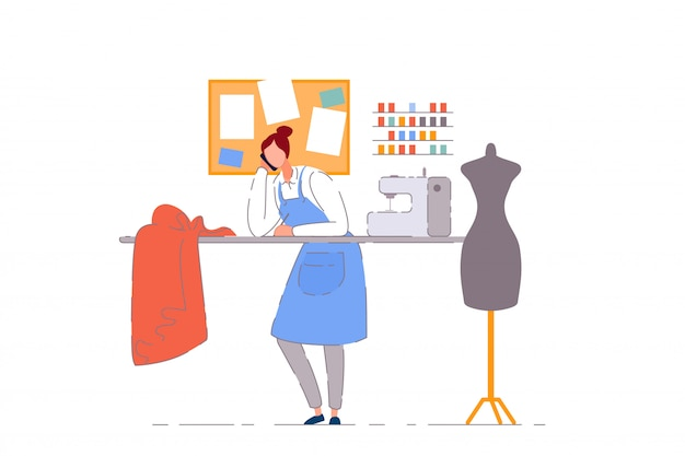 Tailor shop business owner.  dressmaker woman person working in sewing craft workshop.  tailor seamstress business owner with sewing machine, mannequin and fabric in atelier shop Premium Vector