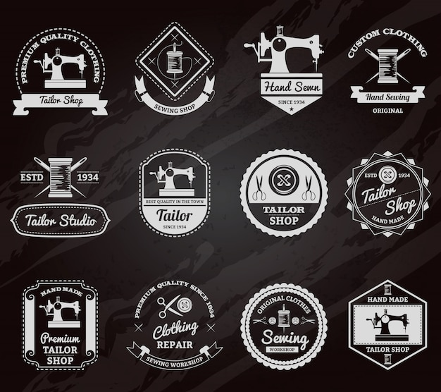 Tailor shop chalkboard labels icons set Free Vector