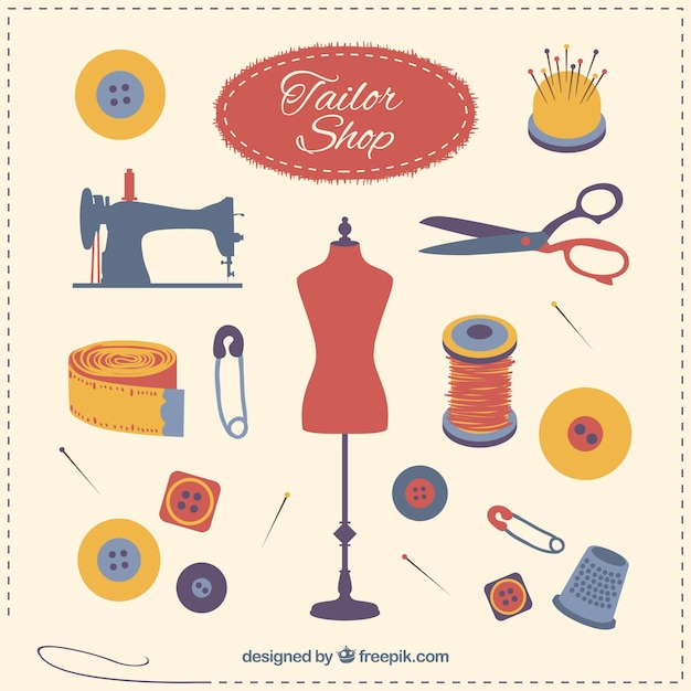 Tailor shop elements Free Vector