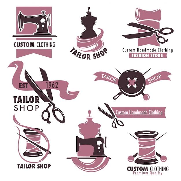 Tailor shop and fashion store promotional emblems set Premium Vector