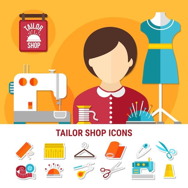 Tailor shop illustration Free Vector