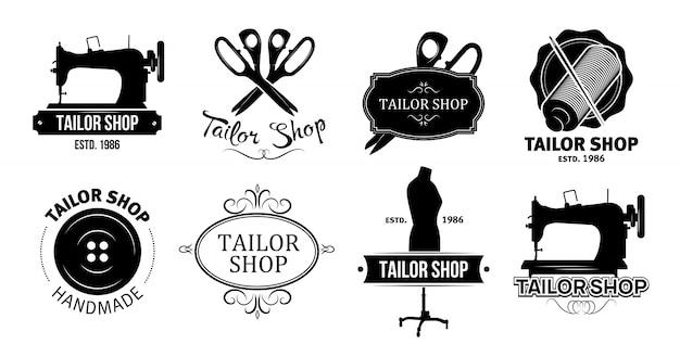 Набор логотипов ателье Бесплатные векторы